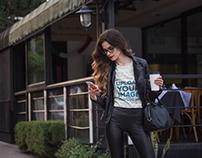 Fashion Woman Wearing a T-Shirt Mockup