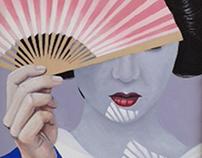 "Geisha in Sunlight Oil on cardboard 19""x14"""
