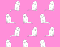 white cat pattern design