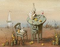 """Breakfast on the shore,"" acrylic, wooden panel"