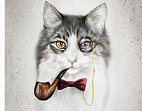 Watercolor cat with a smoking pipe and a bow-tie