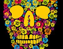 floral skull vector art