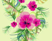 Pink hibiscus and tropical leaves