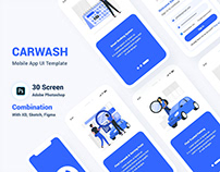CarWash Mobile App UI PSD XD Template