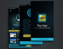 Mobile UI - Travel & Tour App (Dark Theme)