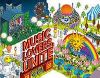 Music Lovers Unite. Delta Sky Magazine Illustration