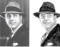Ilustración rostro en letras, Carlos Gardel