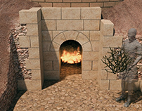Ancient Byzantine clay furnace visualization