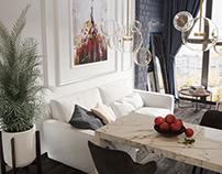 Black and white interior. Studio apartment 25 m² in Kr