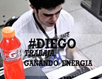 Diego trabaja ganado energia