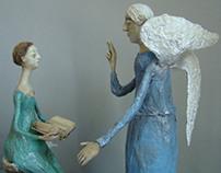 """""""Annunciation """" papier-mâché sculptures"""