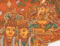 Kerala Mural Painting style wedding invite