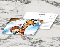 明信片設計-愛穿搭的動物們