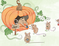 Pumpkin Shop & Mice Illustration