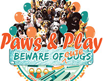 Logo and Poster Ad for Paws & Play Event