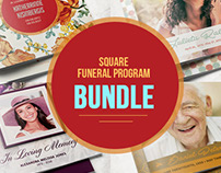Square Funeral Program Template Bundle