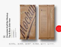 Chocolate Kraft Bar Mockup Top & Back Side View