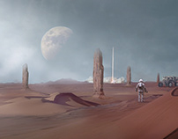 confused Moon matte painting