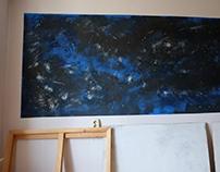 """""""Space"""" роспись внутри небольшой комнаты"""