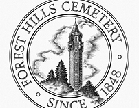 Forest Hills Cemetery Logo Illustrated by Steven Noble