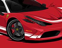Cars and Coffree Ferrari illustration Commissioned Art