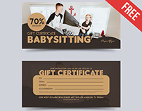 Babysitting – Free Gift Certificate PSD Template