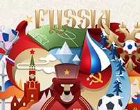 Russia 2018 FIFA World Cup Illustrative Poster