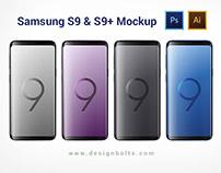 Free Samsung Galaxy S9 & S9+ Mockup Ai & PSD
