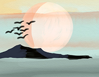 sun set landscape illustration