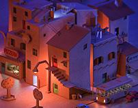 Cardboard neighborhood - night version