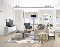 Scandinavian style. Apartments 70 м2. Рабочие эскизы.