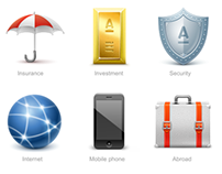 Icons for Alfa Bank online banking system