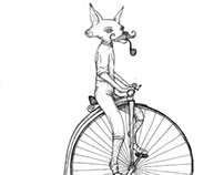 Drake the Penny Farthing riding fox