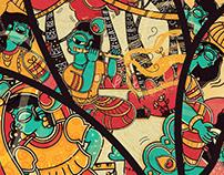 Dimensions of Krishna Illustrations in Madhubani