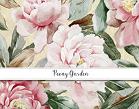 Peony Garden Gift Wrap, Textile & Invitation Collection