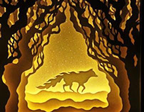 Flaming Fox // Handcut paper illustration light box