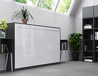 Smartbett 120x200cm Anthracite/White Glossy Front