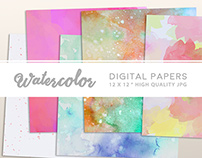 High Resolution Watercolor Digital Papers