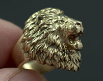 Aggressive Lion Head ring