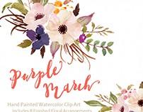 Watercolor flower Clip Art-Purple March/Individual PNG