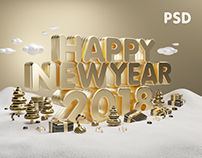 Happy New Year Gold 2018