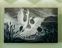 """""""Dancing Cranes"""" volume picture on the wall"""