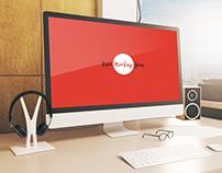 Free Designer Work Station Computer Screen Mock-Up Psd