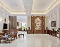 Thiết kế nội thất biệt thự 3 tầng tân cổ điển đẹp 150m2