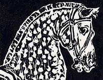Carousel Horse - Linoleum cut