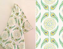 Peacock Pointillism Tea Towel