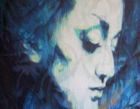 WOMAN PORTRAIT BLUE GRAFEENEY ORIGINAL GRAFFITI CANVAS