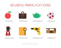 Freebie - 80 Minimal Flat Icons