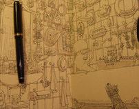 Nine complete moleskine sketchbooks