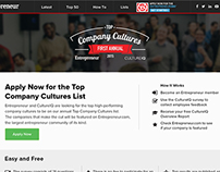 Top Company Cultures Landing Page